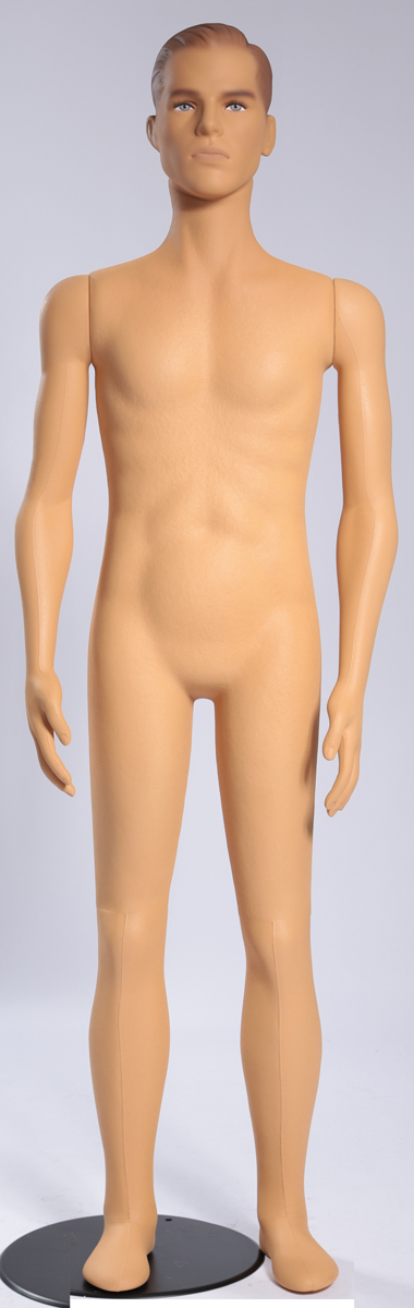 Flexible Male Mannequin With Head Features & Make-up Plastic Skin (New)