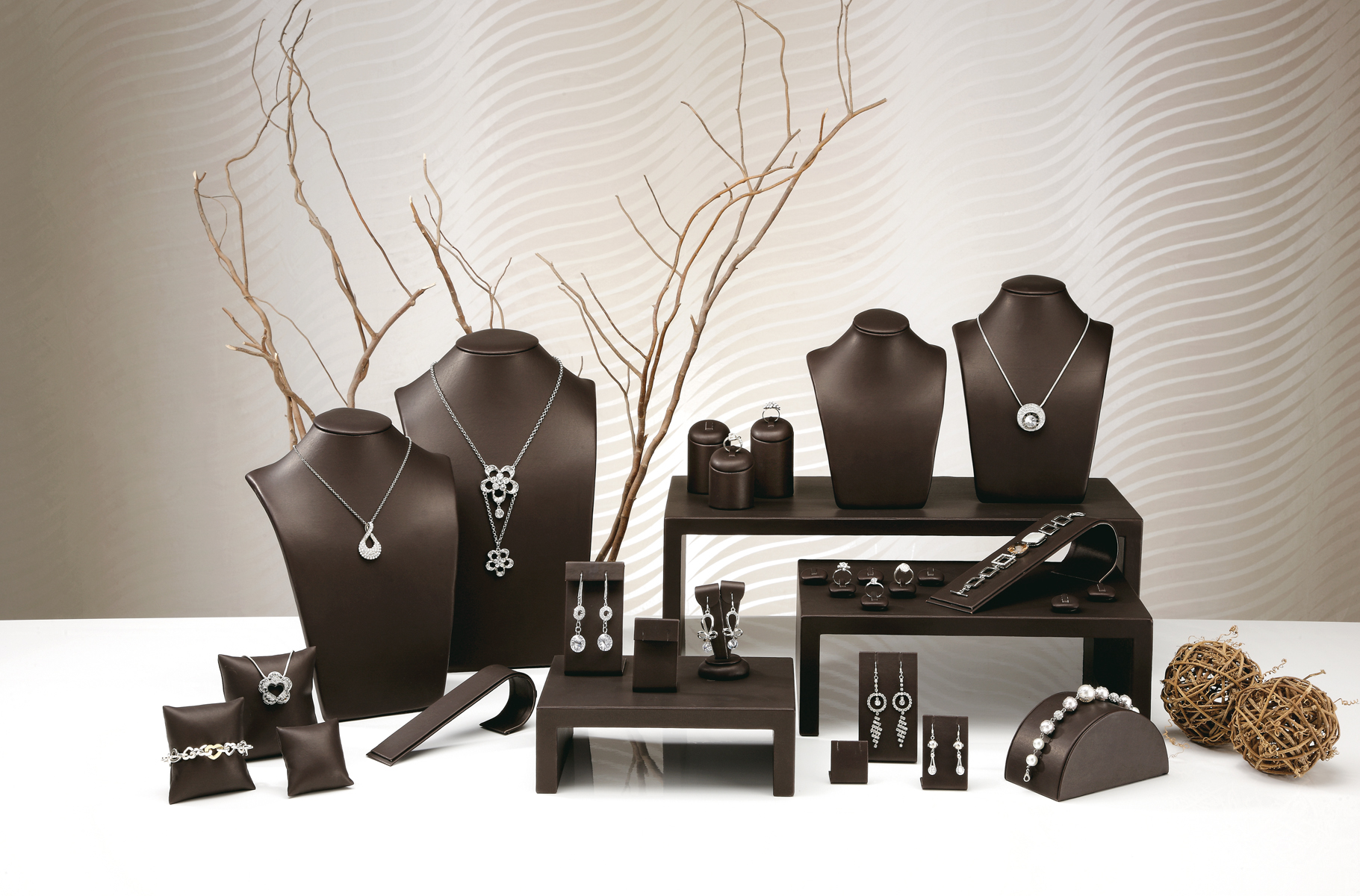 The Jewellery Display Sets available in Cream White, Brown ...
